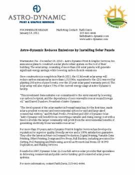 Astro-Dynamic Solar Panel Installation Press Release