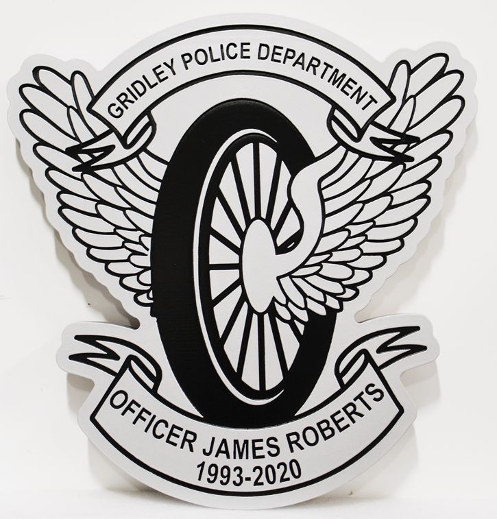 PP-3442 - Memorial Plaque for a Officer of the Gridley Police Department, with a Motorcycle Wheel and Wings as Artwork