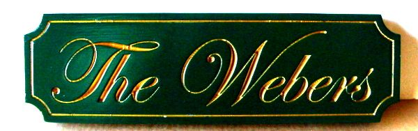 "I18116 - Engraved Property Name Sign, ""The Webers"""