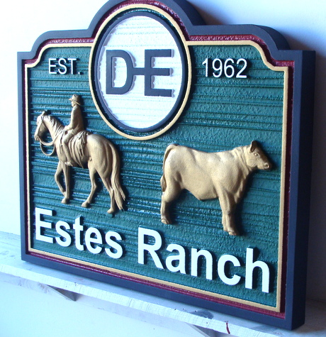 O24133 - 3-D Cattle Ranch Entrance Sign, Side View