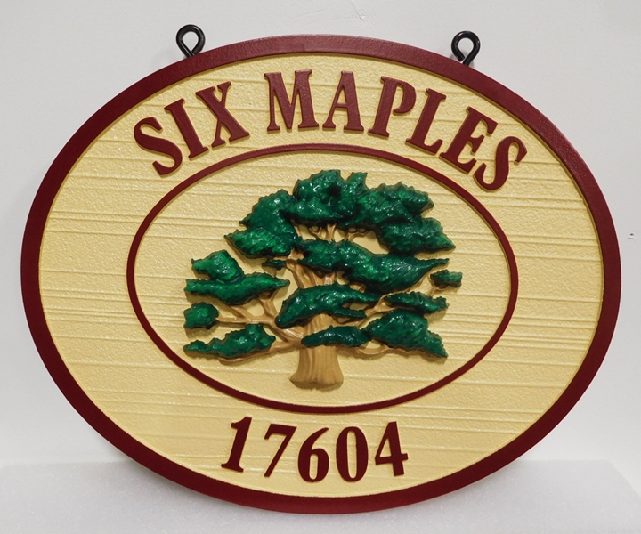 "I18325 - Carved and Sandblasted Address and Property Name and Address Sign, ""Six Maples"", with Carved 3-D Tree"