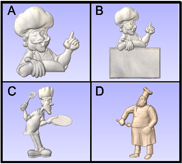 Q25902 - 3-D Carved Chef Figures for Restaurant Signs