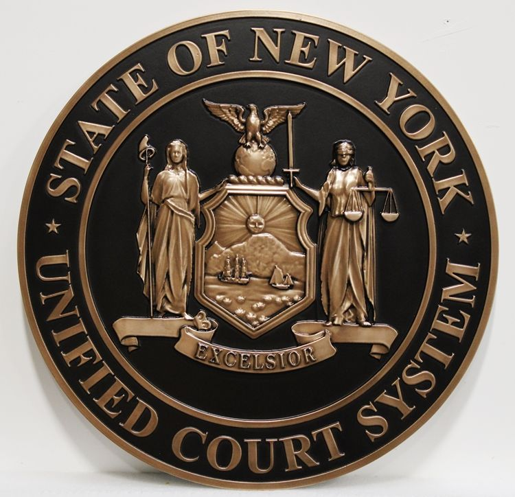 GP-1240 - Carved Plaque of the Seal of the  Unified Court System, State of New York, Bronze Plated