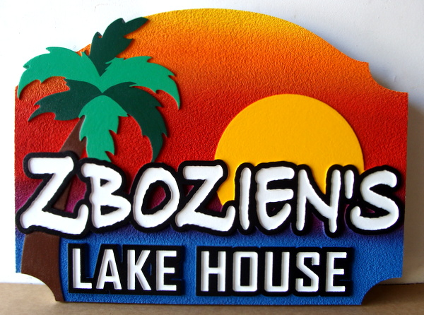 """M22375 - Carved and Sandblasted Lake HouseSign """"Zbozien's"""", with Lake, Palm Tree and Sunset as Artwork"""