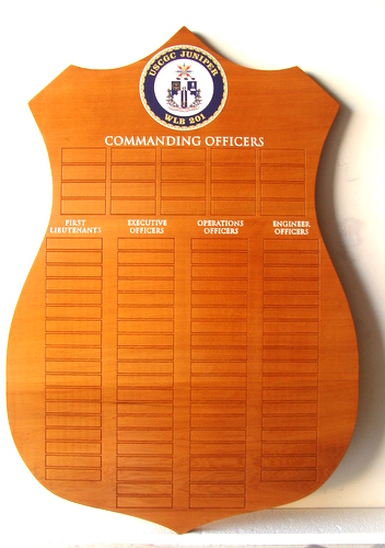 NP-2460 - Carved Command Plaque  for  US Coast Guard Cutter Juniper WLR 201,  Mahogany Wood with Engraved Brass Plates (not shown)