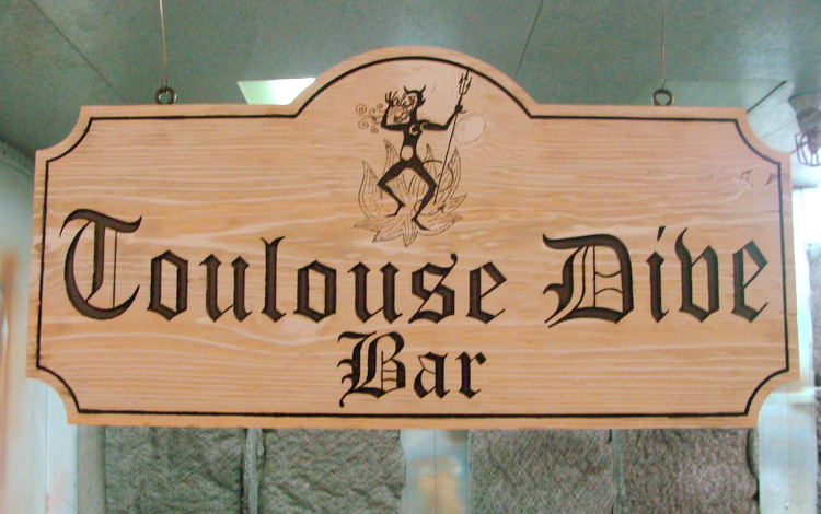"R27351 - Engraved Oak Wooden ""Toulouse Dive Bar Sign"", with Devil"