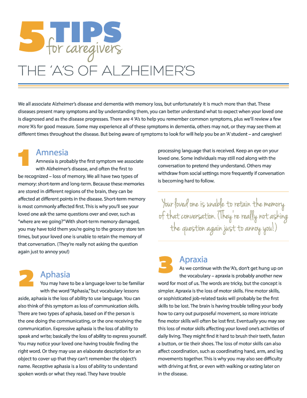 5 Tips for the 'A's of Alzheimer's