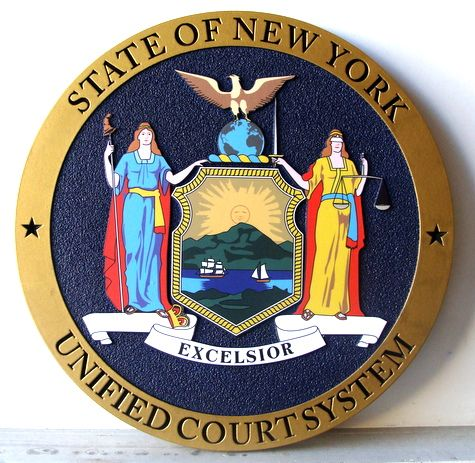 A10872 - Carved HDU Wall Plaque with Great Seal of New York State, for Unified Court System