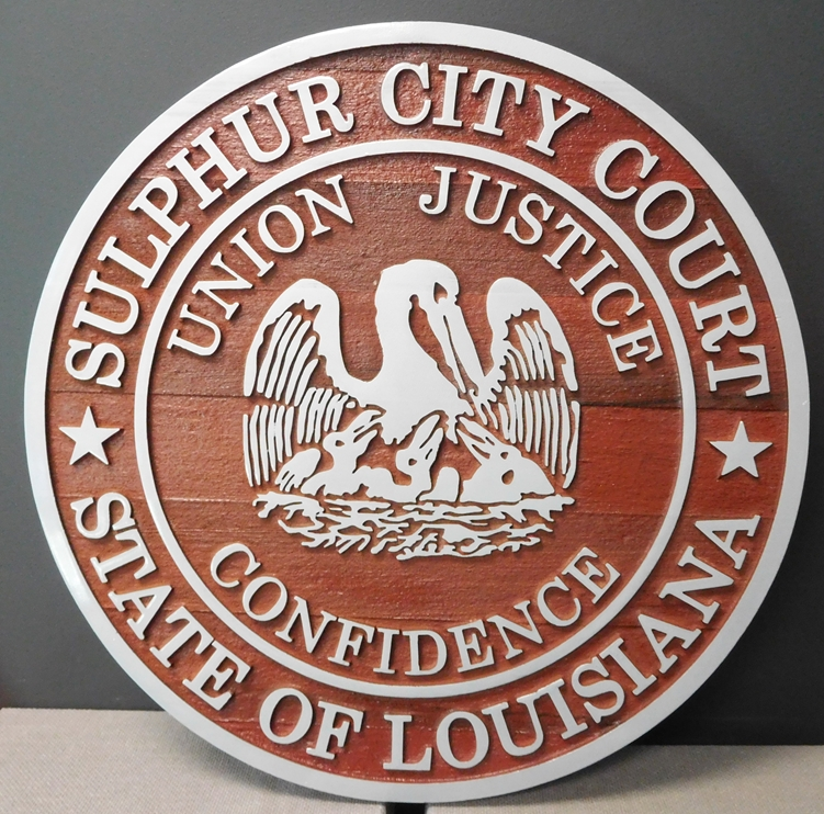 W32230 -  Custom  2.5-D Cedar Wood  Plaque with Aluminum Text and Art, Made  for the Sulphur City Court in Louisiana.