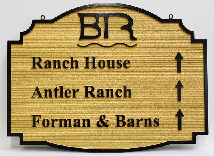 O24242 - Carved and Sandblasted Wood Grain 2.5-D HDU  Wayfinding Sign for the BR Ranch