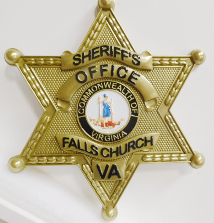 PP-1752- Carved Plaque of the Star Badge of the Sheriff's Office, Fall Church, Virginia, 3-D Brass-plated
