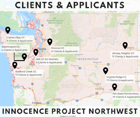 Innocence Project Northwest Client Map