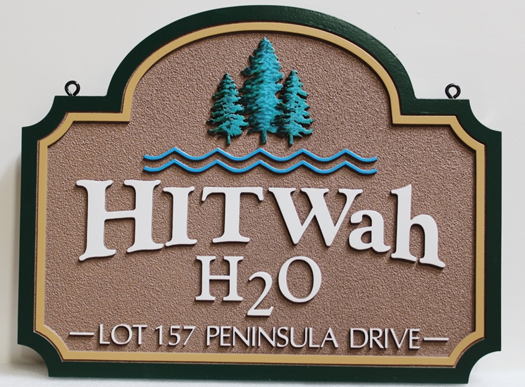 """M22098 -  Carved and Sandblasted Cabin Name and Address Sign """"HITWah H2O"""", with Three Spruce Trees Carved in 3D"""