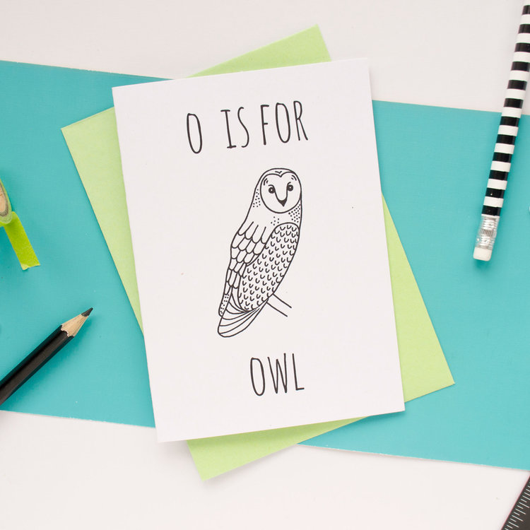 O is for Owl Greeting Card with Envelope by Darwin Designs