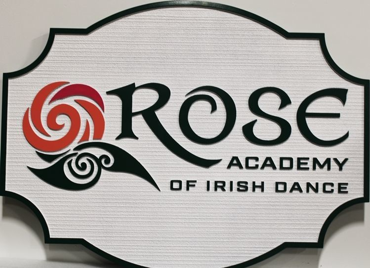 S28146 - Carved and Sandblasted Wood Grain  2.5-D HDU Sign for the Rose Academy of Irish Dance, with a Stylized Rose Logo as Artwork