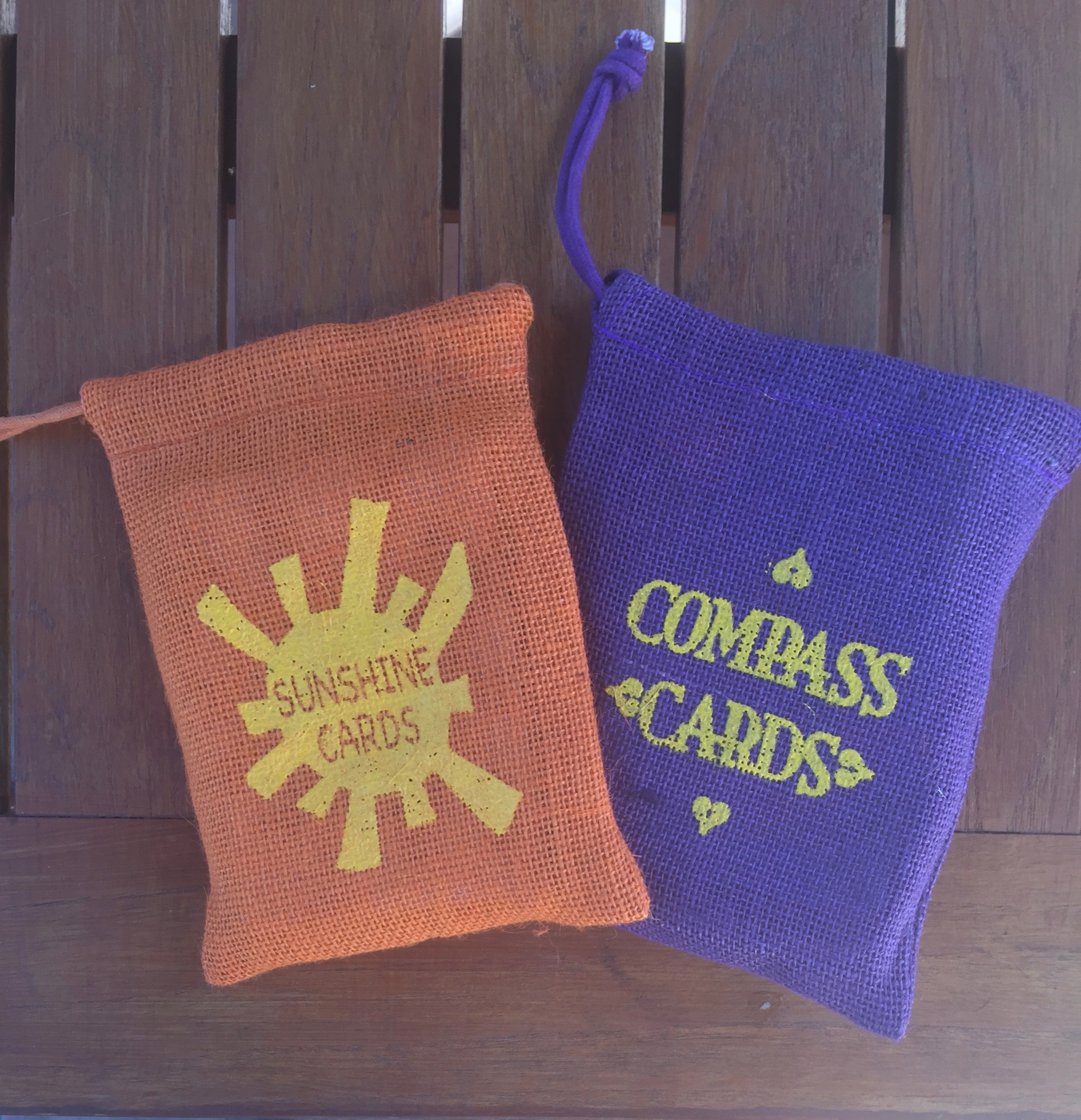 Sunshine and Compass Cards Set, by Melissa Granchi, 58 cards per deck packaged individually in a burlap sack