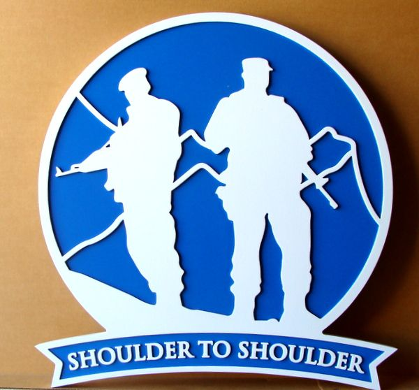 """V31775 – Carved HDU Wall Plaque of a  Distinctive Unit Insignia for a US Army Infantry Unit, with text """"Shoulder to Shoulder"""""""