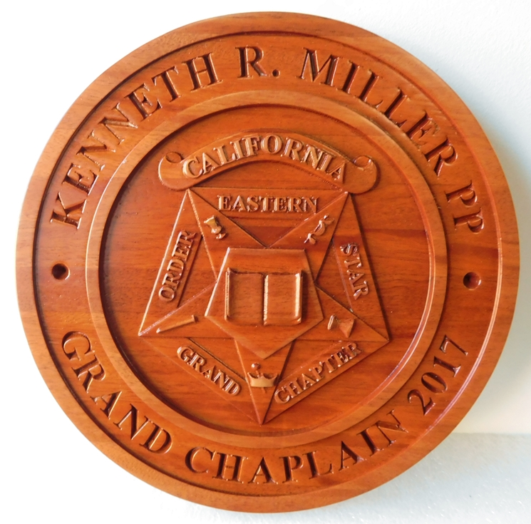 Z35103 - Carved 3-D Redwood Wall Plaque for a Grand Chaplain,featuring  the Emblem of the Order of the Eastern Star.