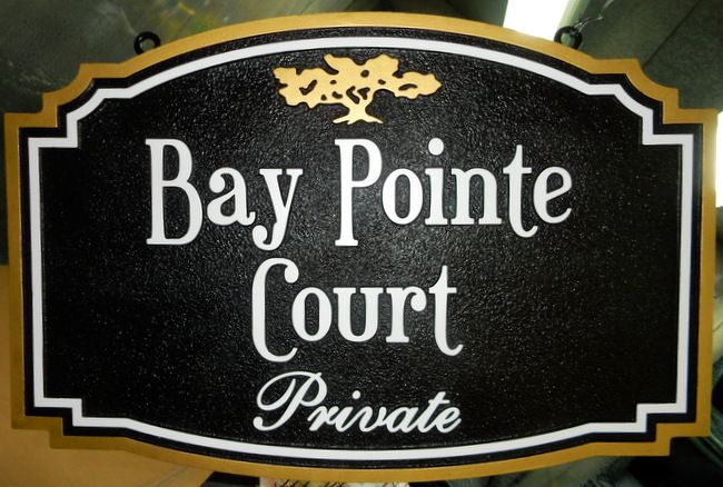 "K20167 - Carved HDU Sign for Condominiums ""Bay Pointe Court "" with Gold Tree"