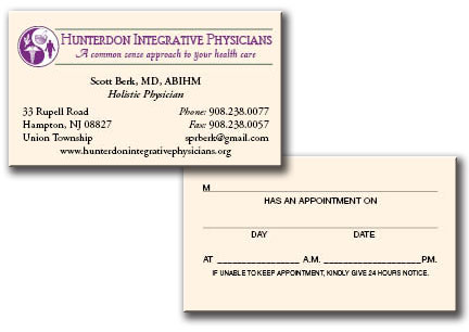 Printing business cards designing business cards flemington nj hunterdon integrative physicians reheart Image collections
