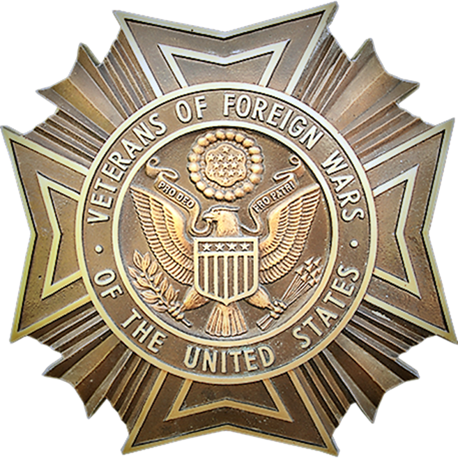 UP-1053 - Carved Wall Plaque of the Badge of the Veterans of Foreign Wars , USA, Bronze Plated