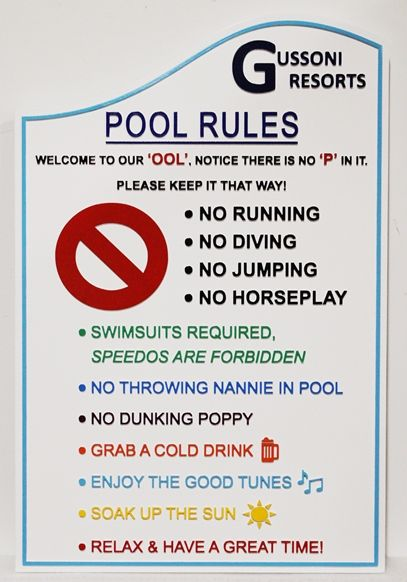 GB16335 - Whimsical Rules  Sign for a Private Swimming Pool