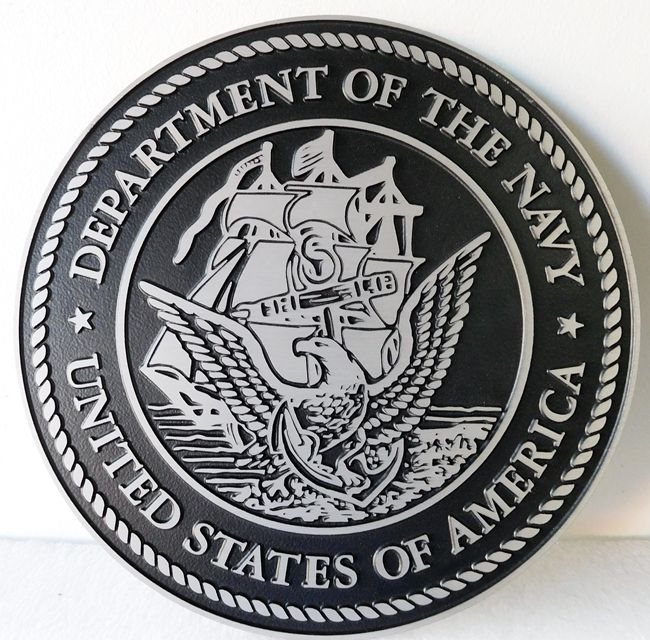 JP-1170 - Cast 2.5-D Plaque of the Great Seal  of the US Navy, Cast Aluminum