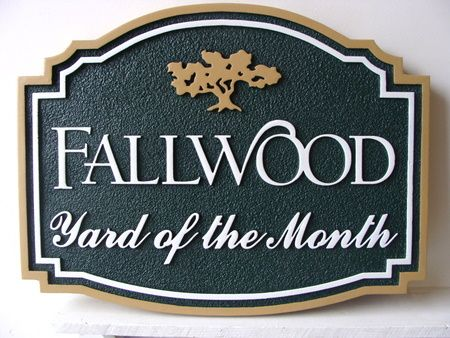 KA20911 - Yard-of-the-Month Sign with Golden Oak Tree
