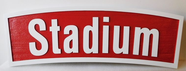 WP-1280- Carved Wall Plaque of Stadium,  Artist Painted