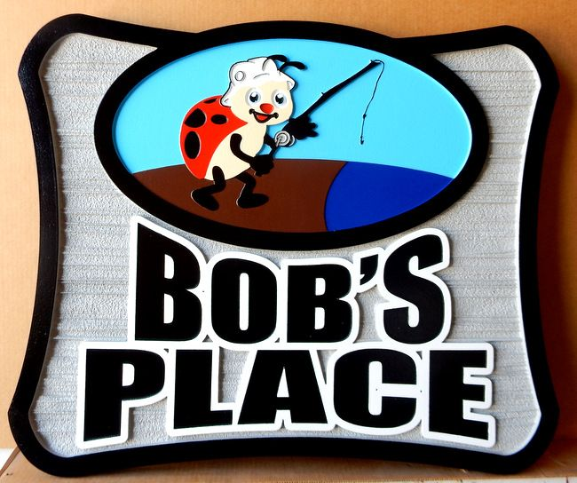"""M22446 - Carved, and Sandblasted (Wood Grain)  Sign for """"Bob's Place"""" with Ladybug Fishing"""