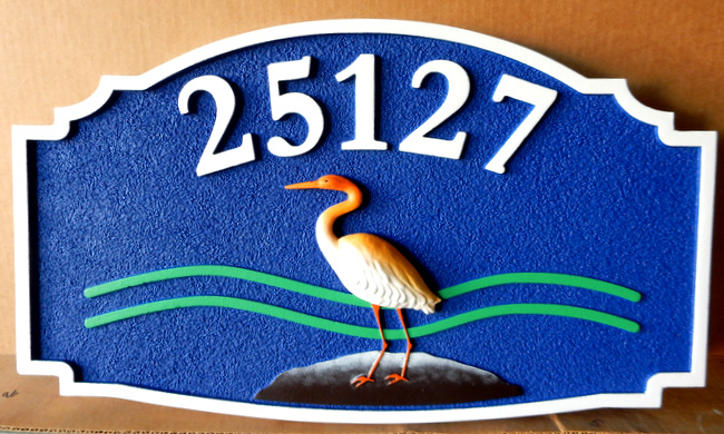L21614 - 3-D Beach House Address Sign with Crane and Waves in Water
