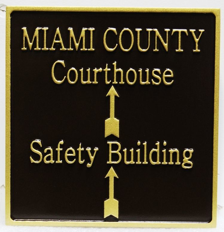 A10890 - Carved 2.5-DRaised Relief HDU Entry Directional Sign for the Miami County Courthouse