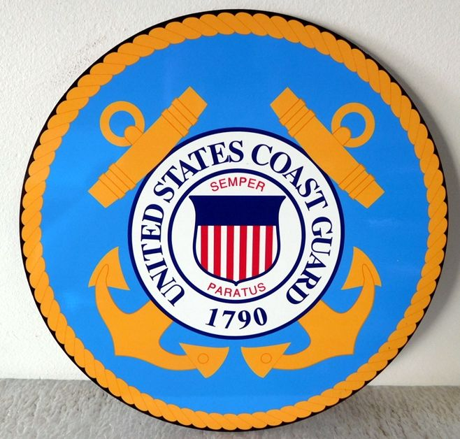 NP-1210 - Plaque of Emblem of the US Coast Guard, Printed Giclee Vinyl Applique on Acrylic