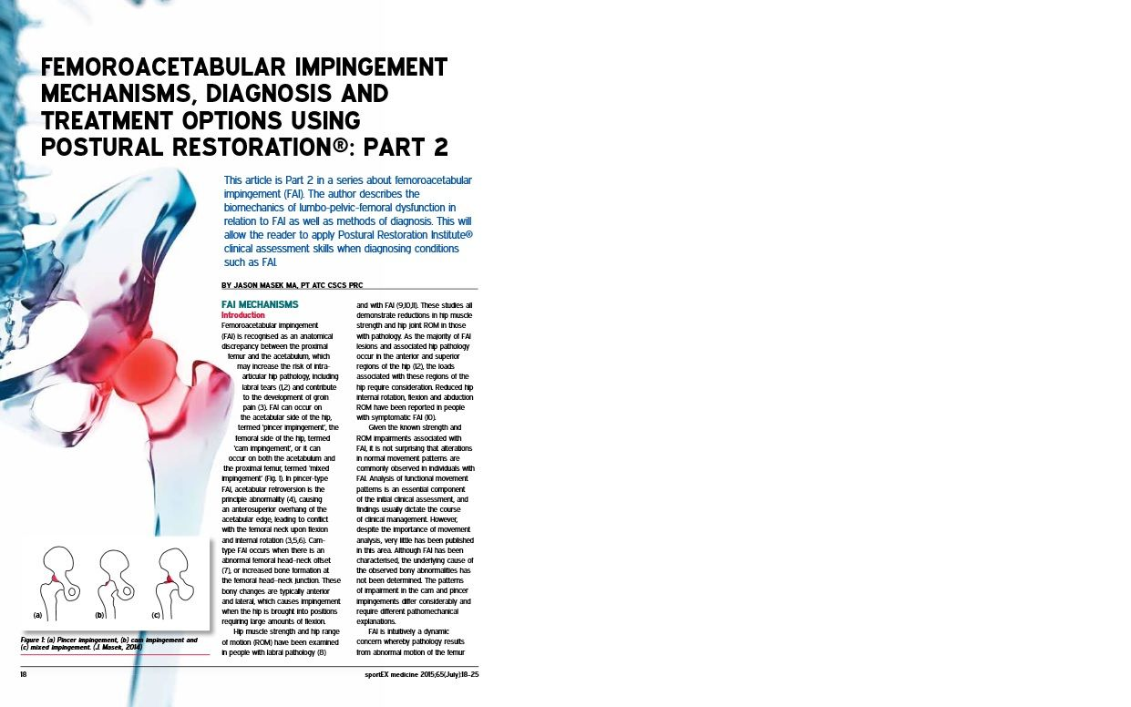 Hruska Clinic's Jason Masek Writes Second Article on Postural Restoration And Hip Impingement