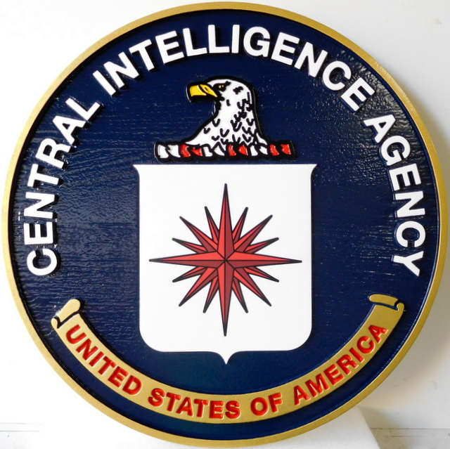 U30389 - Central Intelligence Agency (CIA) Seal Carved 3-D Cedar Wood Wall Plaque