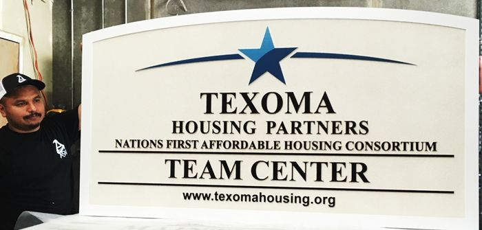 "K20346 - Carved HDU Entrance Sign  for  the ""Texoma"" Housing Partners"