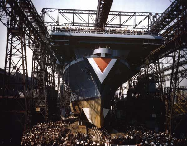 Aircraft carriers were also built on Long Island at the world's largest naval shipyard in Brooklyn. Here an Essex class carrier is launched in Brooklyn in 1944.