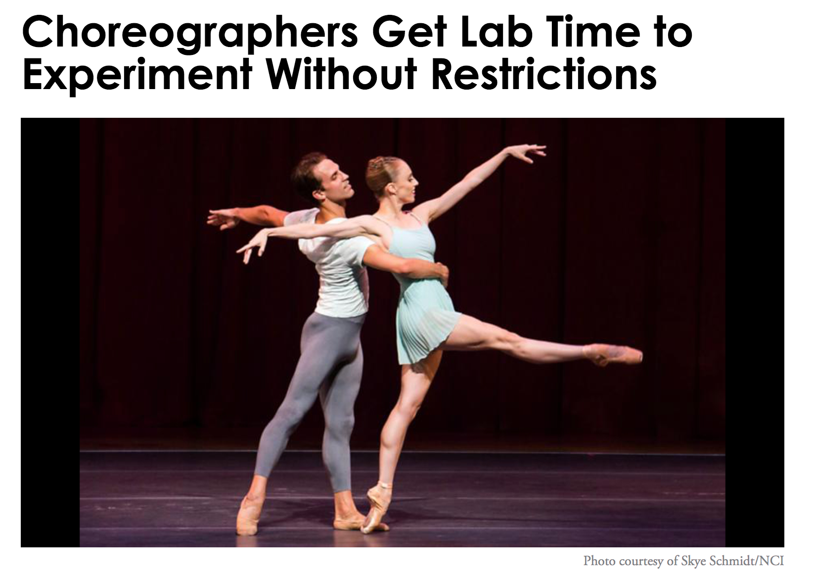 Choreographers Get Lab Time to Experiment Without Restrictions