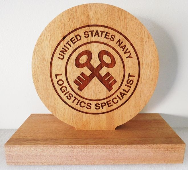 JP-2780 - Desk Plaque for Logistics Specialist, Laser Engraved Mahogany