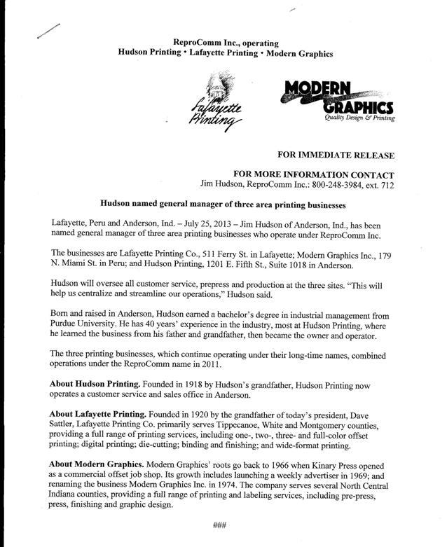 Jim Hudson Press Release