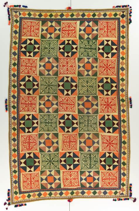 Ralli quilt, probably made in Rahim Yar Khan, Punjab, Pakistan, circa 1970-1990, 79 x 49 in, IQSCM 2007.009.0004