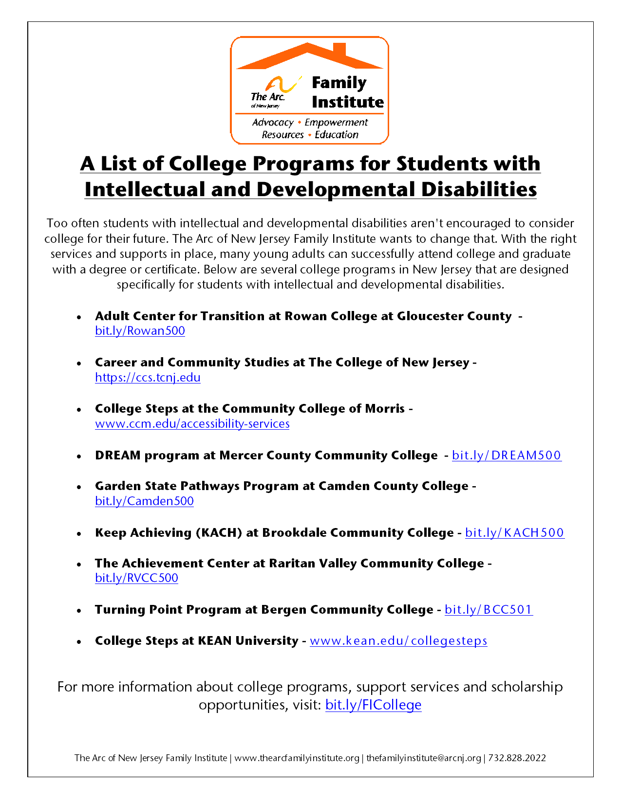 A List of College Programs for Students with  Intellectual and Developmental Disabilities