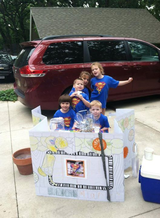 Sammy's Superheroes Lemonade Stand in Okoboji, IA!   Raising money for childhood cancer research. Thanks Alison Kelly and family!