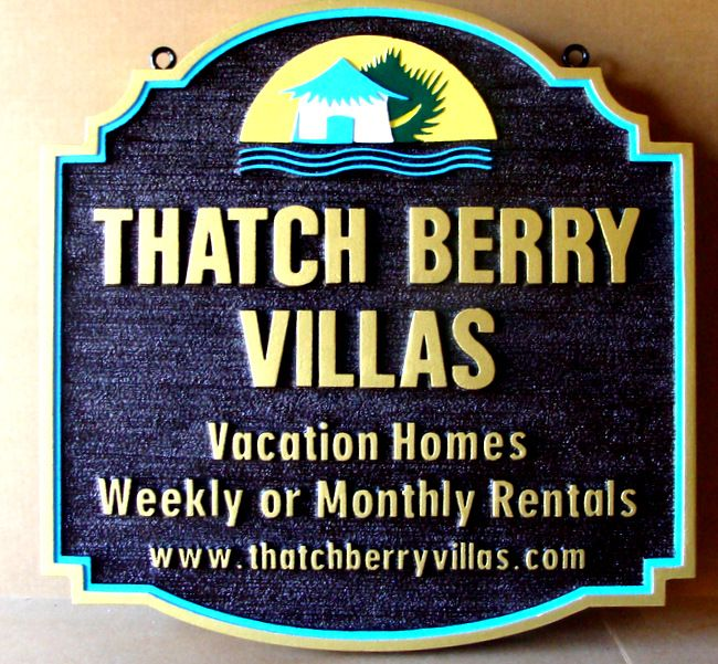 "L21141 - Carved  Sign for ""Thatch Berry Villas"" which Features a Thatched Hut on the Ocean"