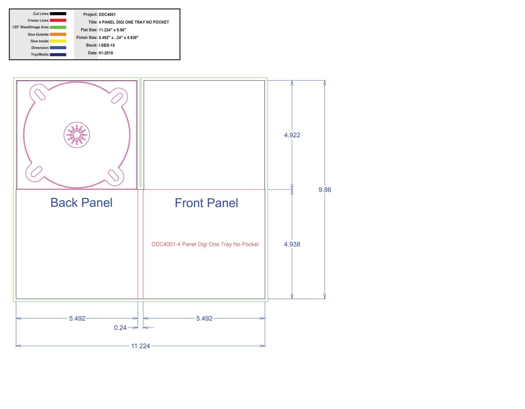 DDC4001-4 Panel Digi One Tray No Pocket