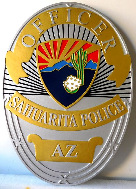 X33670 - Carved Wall Plaque of the Badge of a Police Officer, the Town of Sahuarita, Arizona, featuring a Desert Scene with a Saguaro Cactus as Artwork