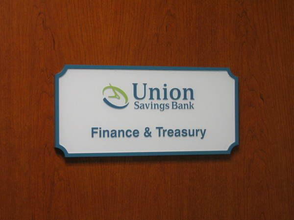 Interior Hallway, Office / Suite Sign, Raised Painted Acrylic Letters on Notched Corner  Acrylic Panel
