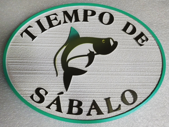 "L21377 - Carved and Sandblasted Sign for ""Tiempode Sabalo"" with Tarpon Fish"