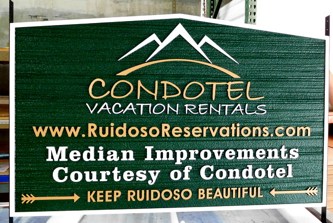 K20151 - Entrance Sign for Condotel, with Mountain Artwork and Sandblasted Wood Grain Background