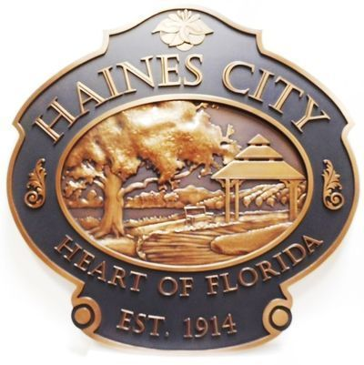 X33260 - Carved 3-D Bronze-Plated HDU Plaque of the Seal of the Haines City, Florida